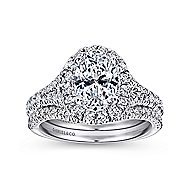 Kennedy 14k White Gold Oval Halo Engagement Ring angle 4