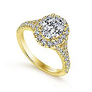 Kennedy 14k Yellow Gold Oval Halo Engagement Ring angle 3