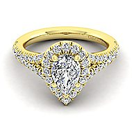Kennedy 14k Yellow Gold Pear Shape Halo Engagement Ring