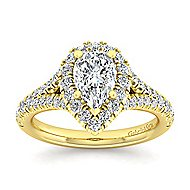 Kennedy 14k Yellow Gold Pear Shape Halo Engagement Ring angle 5