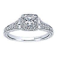 Kind 14k White Gold Princess Cut Halo Engagement Ring