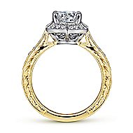 Kingston 14k Yellow And White Gold Round Halo Engagement Ring