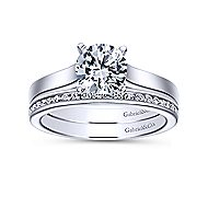 Kipling 14k White Gold Round Solitaire Engagement Ring angle 4