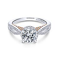 Kira 14k White And Rose Gold Round Split Shank Engagement Ring angle 1