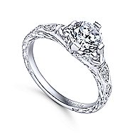 Kirie Platinum Round Straight Engagement Ring angle 3