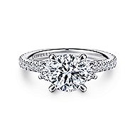 Knight 18k White Gold Round 3 Stones Engagement Ring angle 1