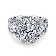 Krishna 18k White Gold Round Halo Engagement Ring angle 1