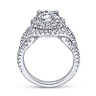Krishna 18k White Gold Round Halo Engagement Ring angle 2