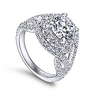 Krishna 18k White Gold Round Halo Engagement Ring