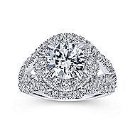 Krishna 18k White Gold Round Halo Engagement Ring angle 5