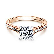 Krista 14k White And Rose Gold Round Straight Engagement Ring angle 1