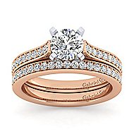 Krista 14k White And Rose Gold Round Straight Engagement Ring angle 4