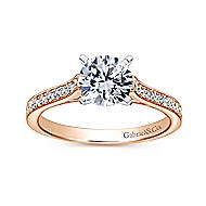 Krista 14k White And Rose Gold Round Straight Engagement Ring angle 5