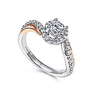 Kyla 14k White And Rose Gold Round Bypass Engagement Ring angle 3