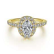 Kylie 14k Yellow Gold Oval Halo Engagement Ring angle 1
