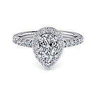 Kylie Platinum Pear Shape Halo Engagement Ring angle 1