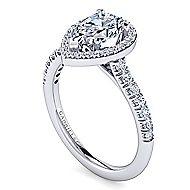 Kylie Platinum Pear Shape Halo Engagement Ring angle 3