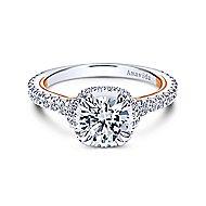 Laksa 18k White And Rose Gold Round Halo Engagement Ring angle 1