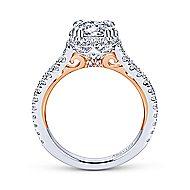 Laksa 18k White And Rose Gold Round Halo Engagement Ring angle 2