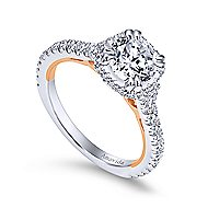 Laksa 18k White And Rose Gold Round Halo Engagement Ring angle 3