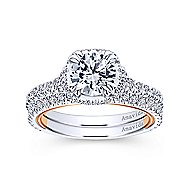 Laksa 18k White And Rose Gold Round Halo Engagement Ring angle 4