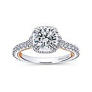 Laksa 18k White And Rose Gold Round Halo Engagement Ring angle 5