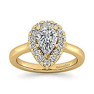 Lana 14k Yellow Gold Pear Shape Halo Engagement Ring