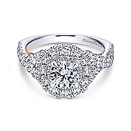 Lara 14k White And Rose Gold Round Double Halo Engagement Ring angle 1