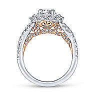 Lara 14k White And Rose Gold Round Double Halo Engagement Ring angle 2