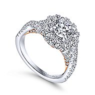 Lara 14k White And Rose Gold Round Double Halo Engagement Ring angle 3
