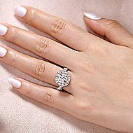Lara 14k White And Rose Gold Round Double Halo Engagement Ring angle 6