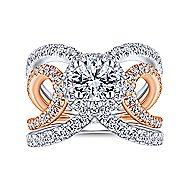 Larissa 18k White And Rose Gold Round Halo Engagement Ring angle 5