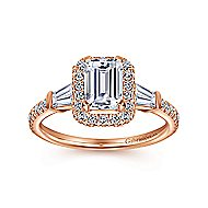 Larkin 14k Rose Gold Emerald Cut Halo Engagement Ring angle 5