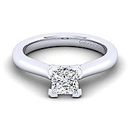 Lauren 14k White Gold Princess Cut Solitaire Engagement Ring