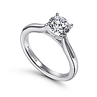 Lauren 14k White Gold Round Solitaire Engagement Ring angle 3