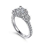 Lavender 14k White Gold Round Halo Engagement Ring