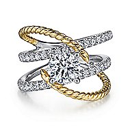 Lavish 14k Yellow And White Gold Round Twisted Engagement Ring