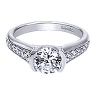 Layna 14k White Gold Round Straight Engagement Ring angle 1