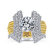 Leandra 14k Yellow And White Gold Round Straight Engagement Ring angle 4