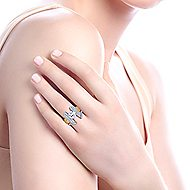 Leandra 14k Yellow And White Gold Round Straight Engagement Ring angle 7