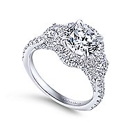 Leda 18k White Gold Round 3 Stones Halo Engagement Ring angle 3