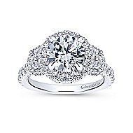 Leda 18k White Gold Round 3 Stones Halo Engagement Ring angle 5