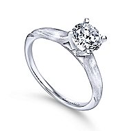 Lee 14k White Gold Round Solitaire Engagement Ring