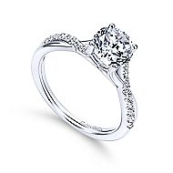 Leigh 14k White Gold Round Twisted Engagement Ring