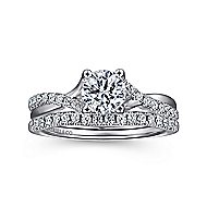 Leigh 14k White Gold Round Twisted Engagement Ring angle 4