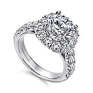Leila 18k White Gold Round Halo Engagement Ring angle 3