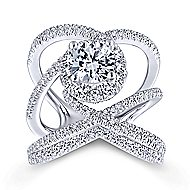 Leone 18k White Gold Round Halo Engagement Ring angle 4