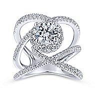 Leone 18k White Gold Round Halo Engagement Ring angle 5
