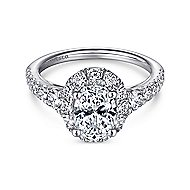 Leonia 14k White Gold Oval Halo Engagement Ring angle 1