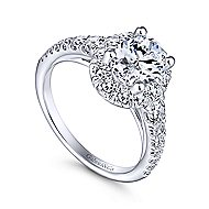 Leonia 14k White Gold Oval Halo Engagement Ring angle 3